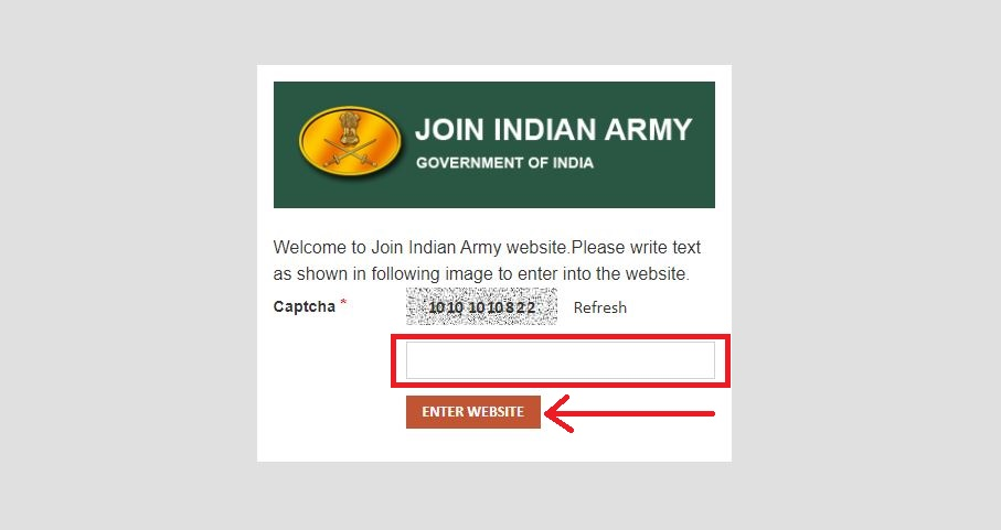 Indian Army Website Captch Code