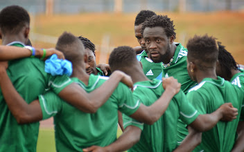 Photo: Kei Kamara and players in team huddle at end of training.  [Training Camp ahead of Leone Stars v Swaziland May 2014 (Pic: Darren McKinstry)]