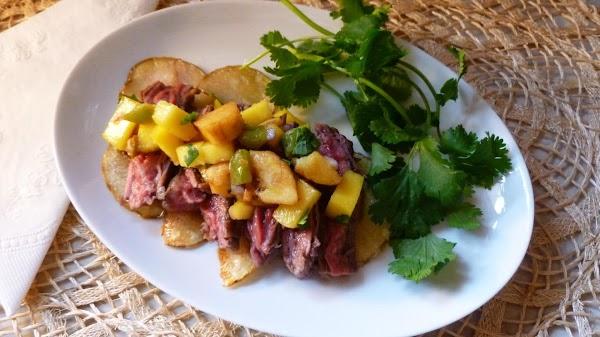 Salsa-topped Garlic Butter Steak On Potato Nachos Recipe