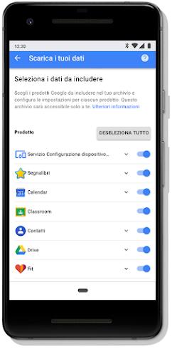 Schermata Controllo privacy della pagina Account Google