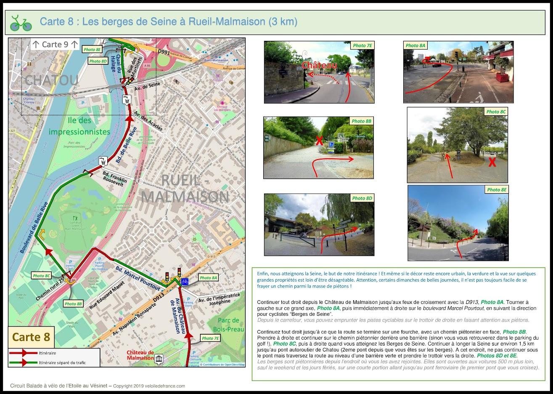 Carte 8 - Balade à vélo de Paris Etoile au Vésinet, la Seine des Impressionnistes par veloiledefrance.com