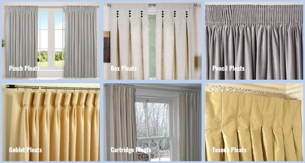 all different types of pleated curtains