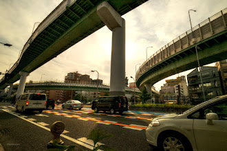 Photo: Higashi-Kataha Junction (東片端JCT) in the evening. :) Most of Junction in Nagoya is acrossed T-shaped... #elevatedexpressways   #日本の夕焼け