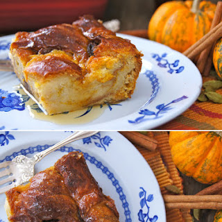 Chai Spiced Maple Pumpkin Bread Pudding