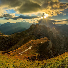 Mangart ridge - panorama 2 in 1 by Bor Rojnik - Landscapes Sunsets & Sunrises ( clouds, cloudscape, places, landscape, panorama, pass, ridge, mangart, slovenia, landscape photography, julian alps, border, italy, panoramic,  )