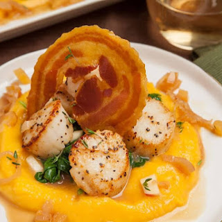 Brown Butter Seared Scallops Over Pureed Butternut Squash