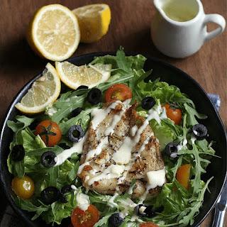 Fish Souvlaki Salad.