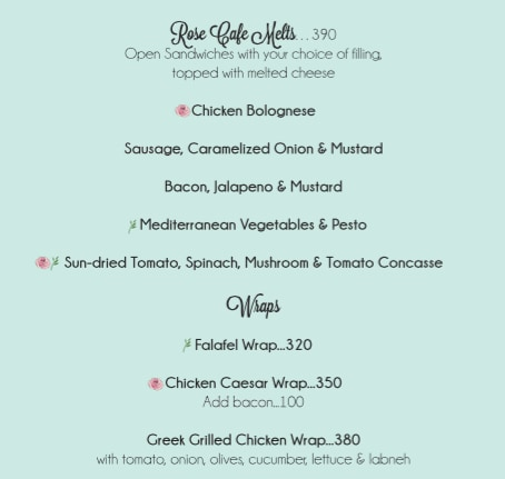 Rose Cafe menu 17