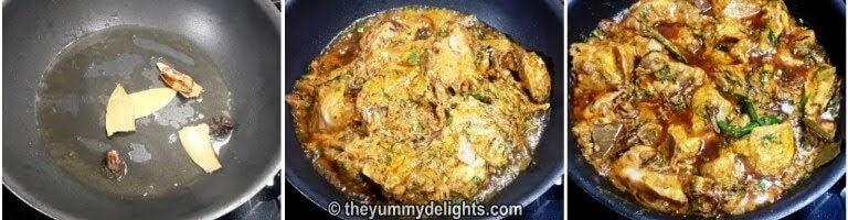 Cooking chicken to make biryani gravy