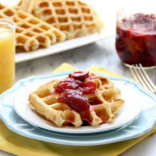 Crisp Buttermilk Waffles with Roasted Strawberries