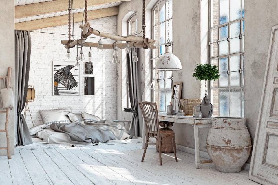 White Bedroom with Factory Window