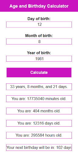 Age and Birthday Calculator DM 1.3 screenshots 1