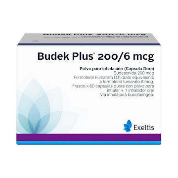 Budek Plus 200/6 mcg INH Caja x 60 Capsulas Budesonida Formoterol Fumarato