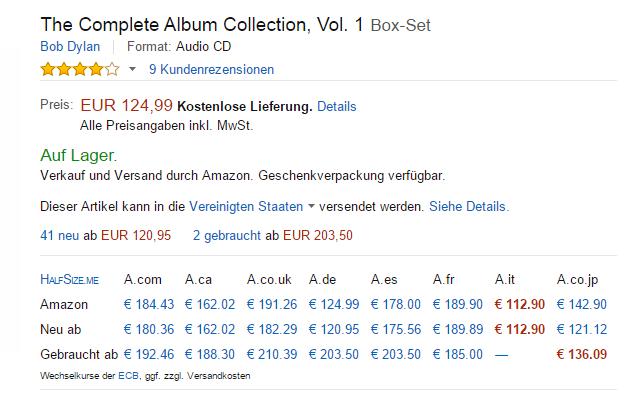 HalfSize me - Global Amazon price comparison