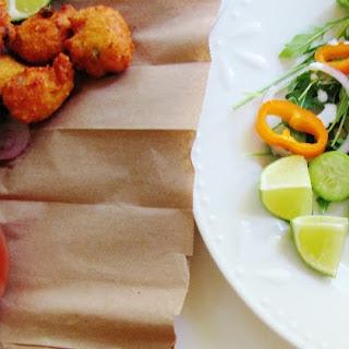 Moong dal pakoda with arugula and avocado salad (Lentil fritters and salad)
