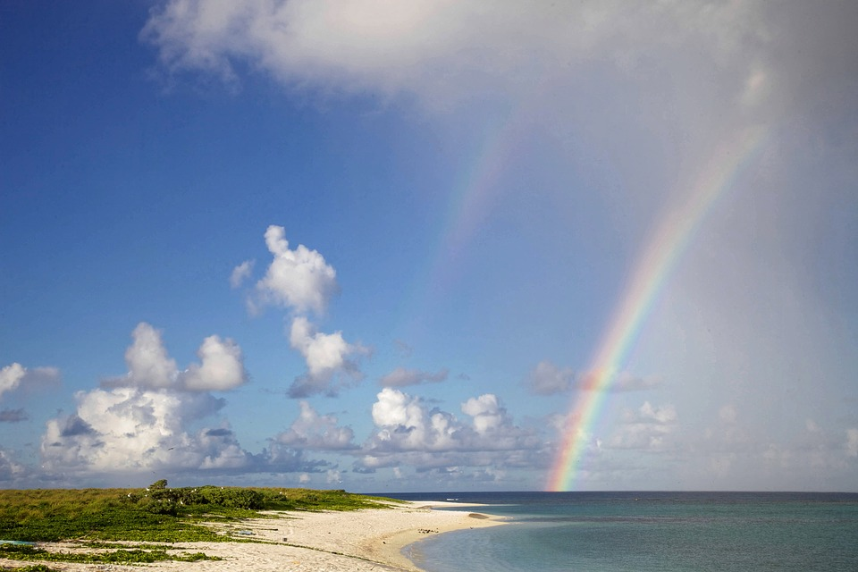 Rainbow, Beach, Scenic, Summer