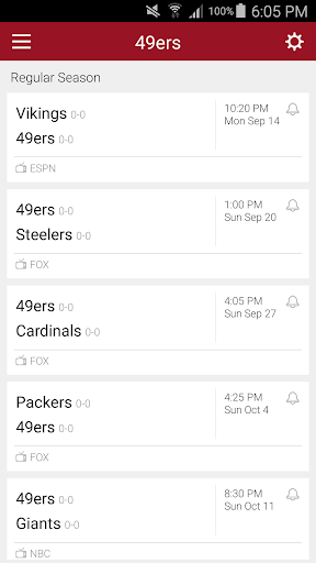 Football Schedule for 49ers