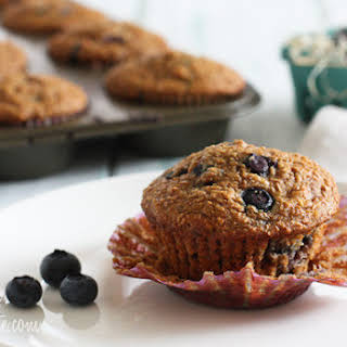Honey Coconut Blueberry Bran Muffins.