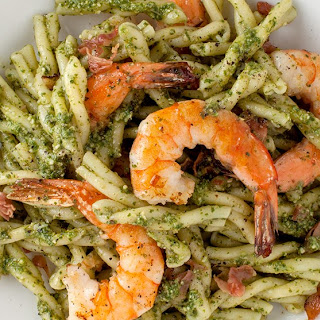 Pasta with Pesto, Shrimp, and Cured Ham Recipe