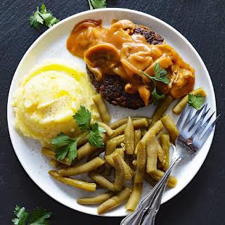 Vegan Hamburger Steaks with Onion Mushroom Gravy.