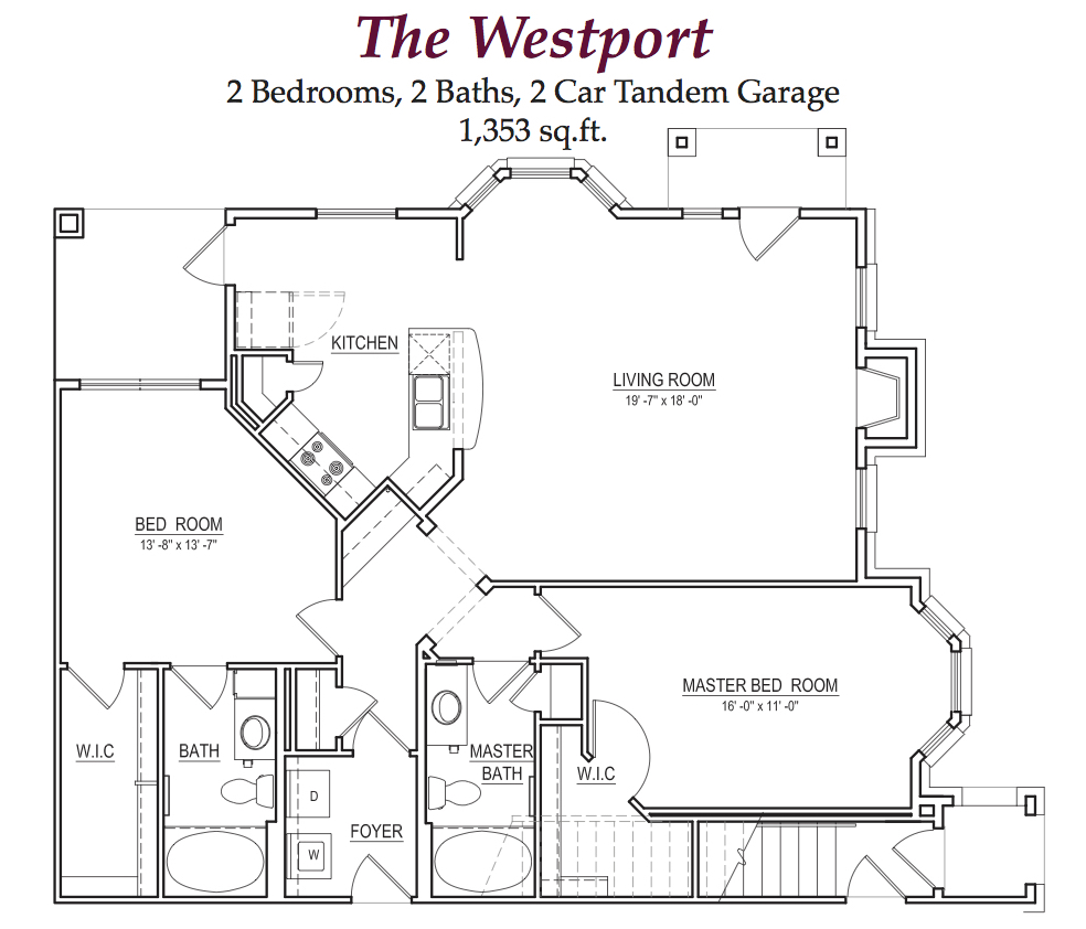 Westport Floorplan (2 Bed, 2 Bath)