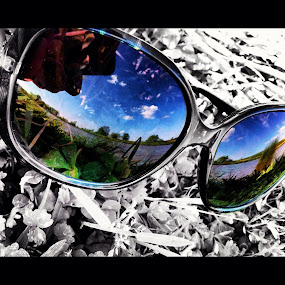 by Josh Pingel - Artistic Objects Clothing & Accessories ( #glasses, #field, #blackandwhite )