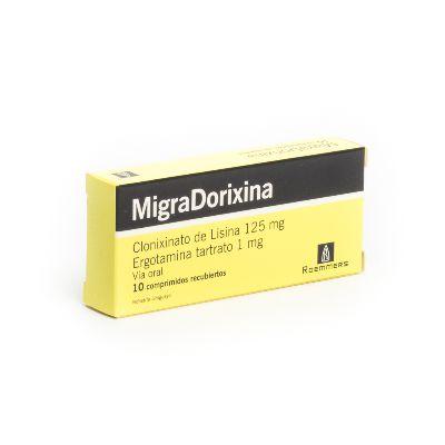 Lisina + Ergotamina Migradorixina 125/1mg x 10 Comprimidos Recubiertos Roemmers