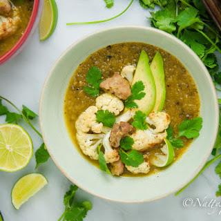 Slow Cooker Pork Tenderloin & Roasted Cauliflower Verde Soup.