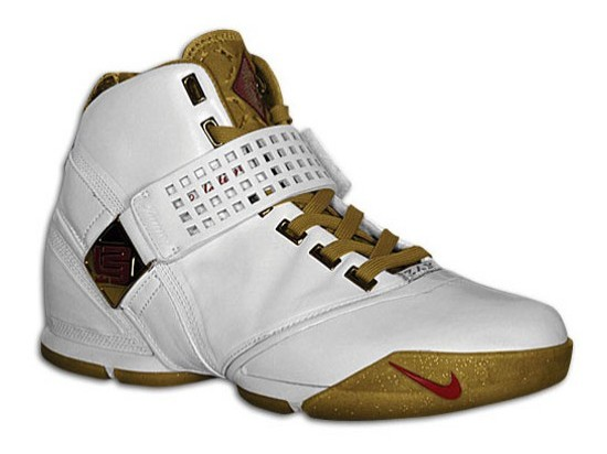 The Nike LeBron V White and Gold Release Date