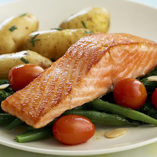 Salmon with Vegetables and Fingerling Potatoes.