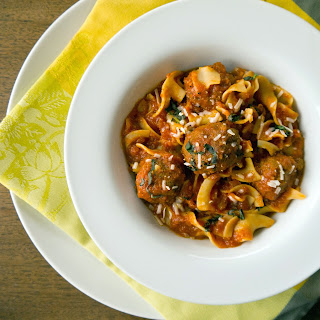 Slow-Cooker Parmesan Meatballs and Noodles.