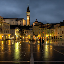 Tartini square by Bojan Porenta - City,  Street & Park  Night ( tartini, slovenia, square, city, night, church, piran )
