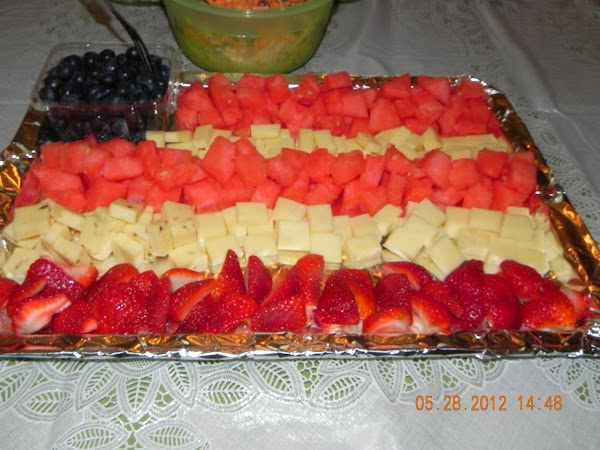 Your choice of fruits and cheeses that are red, white and blue. Cut up...