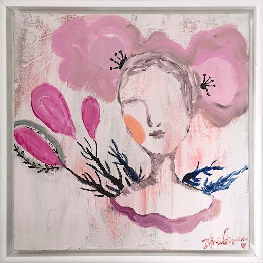 fleur-peau-sophie-lormeau-peinture-contemporaine-acrylique-toile-art-contemporain-figuratif-onirique-poetique-singulier-rose-purple-floraison-portrait-femme-tableau-french-artist-woman-contemporary-art-singular-figurative-colorful-flower
