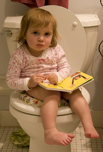 ruby on toilet with book