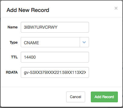 The CNAME record is added in the Add New Record dialog box.