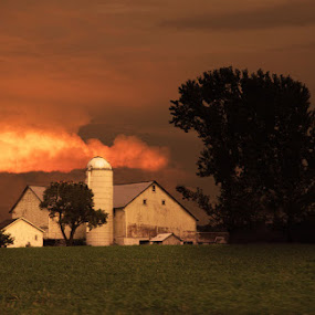 farm at sunset by April Brown - Buildings & Architecture Other Exteriors ( farm, pa, sunset, white )