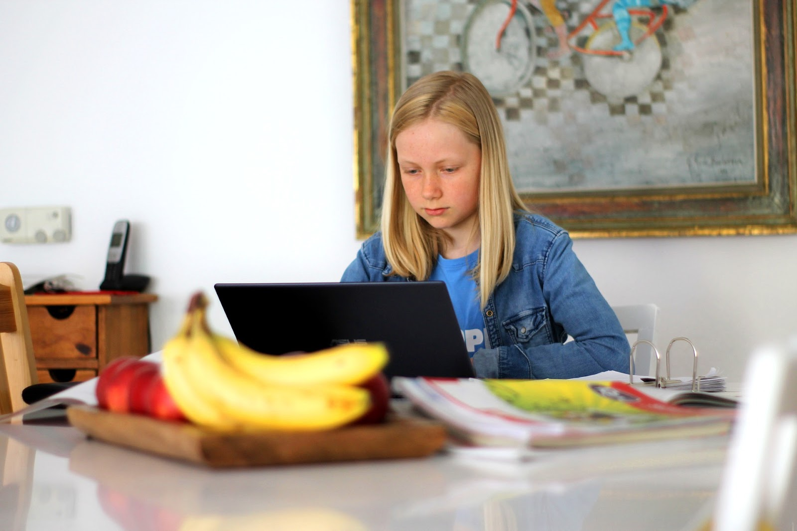 A young, blonde haired girl sits in her kitchen with a binder of curriculum and a laptop. She is concentrating on the laptop screen. There is fruit on the kitchen island.