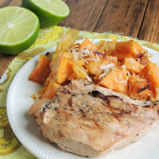 Coconut-Lime Teriyaki Chicken with Roasted Coconut-Pineapple Sweet Potatoes.