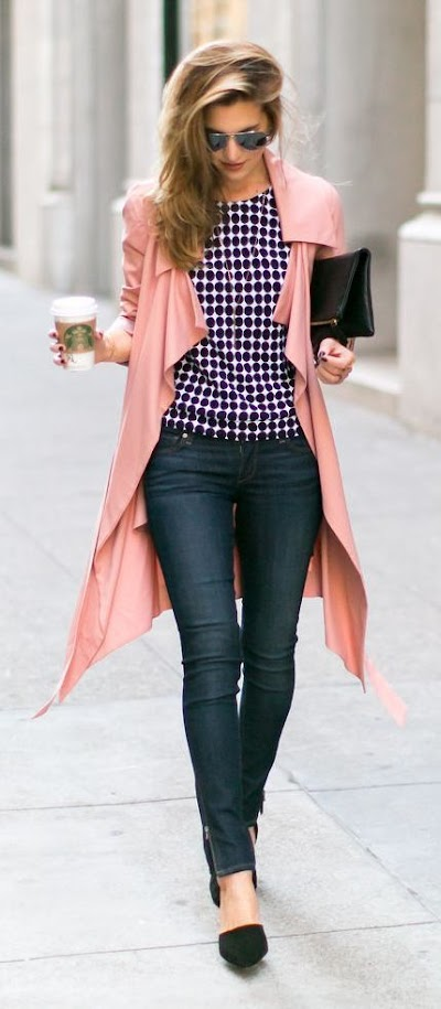Chic outfit with pink coat, polka dot blouse and jeans for Clear Spring women