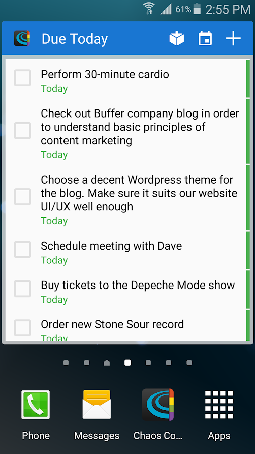 Chaos Control - GTD To-Do List - screenshot