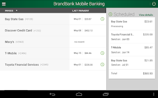 Screenshot of BrandBank Mobile Banking
