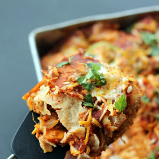 Layered BBQ Chicken & Sweet Potato Enchilada Casserole