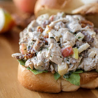 Autumn Chicken Salad with Honeycrisp Apples and Candied Walnuts on Buttery Brioche Toast.