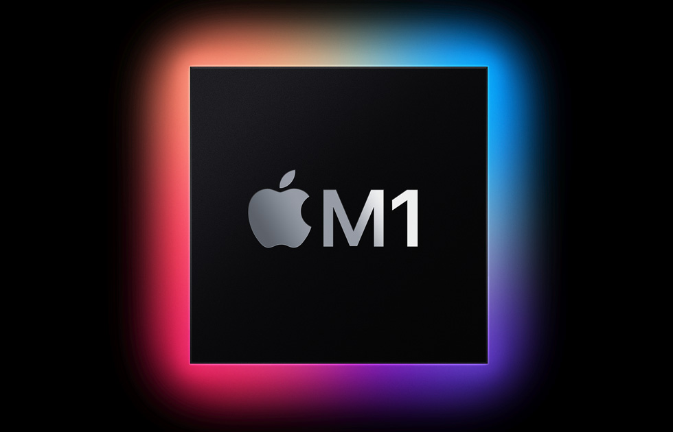 """A glowing black square imprinted with the Apple logo and """"M1."""""""