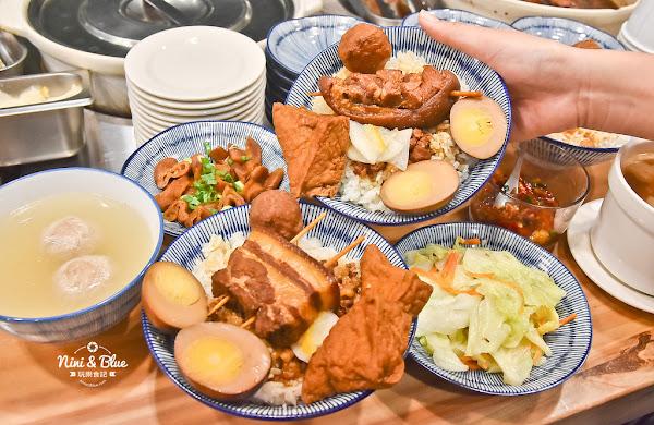 台中美食| 金爌爌肉飯,台中朝馬站旁清新風格的傳統小吃,搭車時快速又美味的爌肉便當、肉燥飯