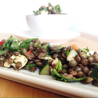 French Lentil Salad with Spinach and Feta Cheese