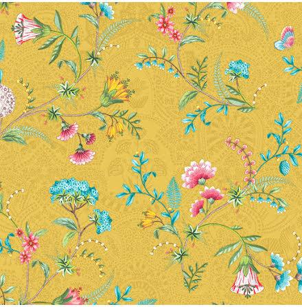 Pip 2020 La Majorelle Tapet med blommor och skimmer - Gul