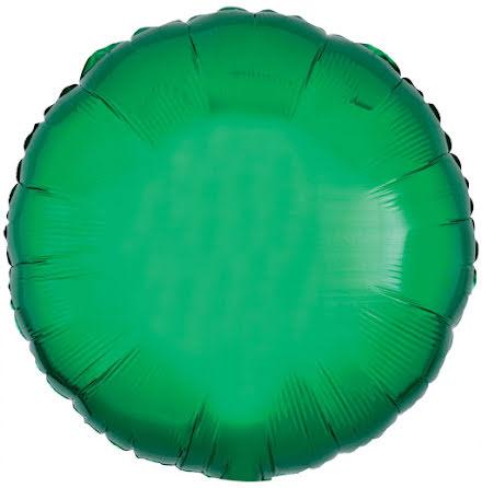 Folieballong, rund metallic grön 43 cm
