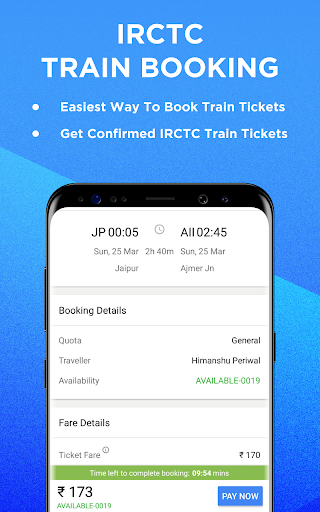 IRCTC Train Booking & Indian Railway PNR Status for PC